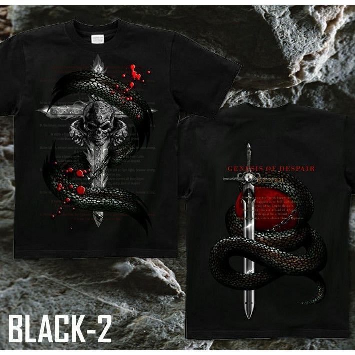 Tシャツ スカル ロック メタル 蛇 十字架|genju|07
