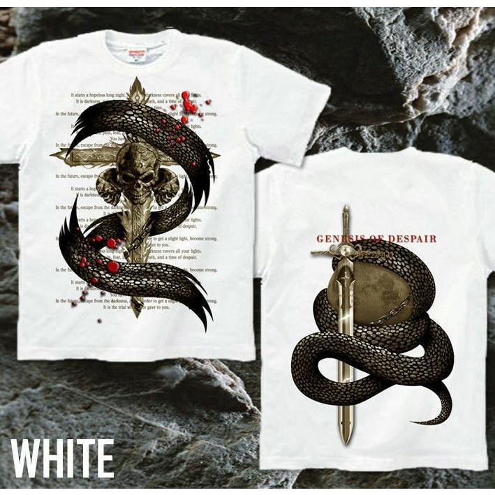 Tシャツ スカル ロック メタル 蛇 十字架|genju|08