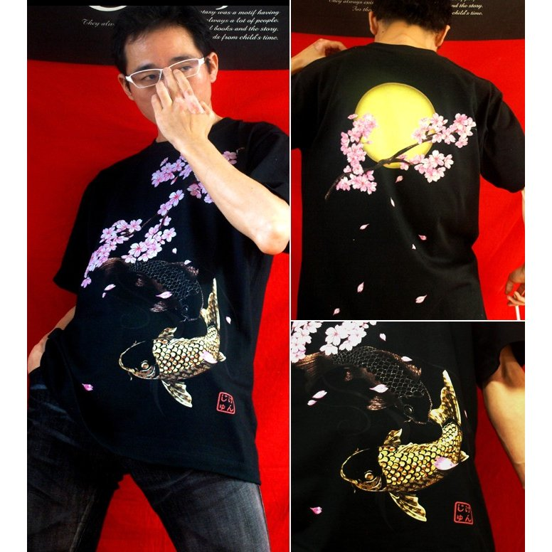 Tシャツ 和柄 鯉 桜河 サイズ genju 02