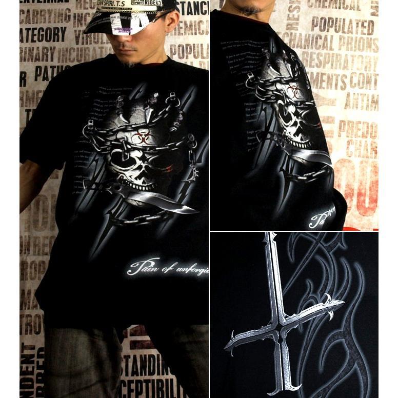 Tシャツ スカル ロック メタル ナイフ|genju|02