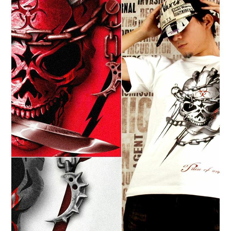 Tシャツ スカル ロック メタル ナイフ|genju|03
