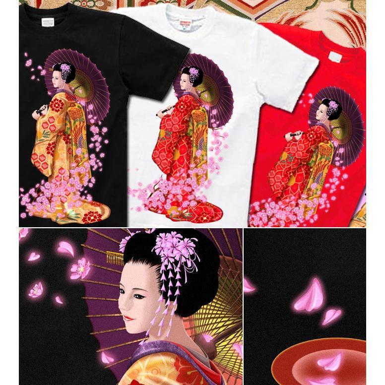 Tシャツ 桜 花見 和柄 舞妓 京都 土産 genju 02