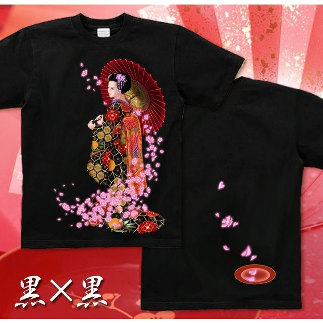 Tシャツ 桜 花見 和柄 舞妓 京都 土産 genju 06
