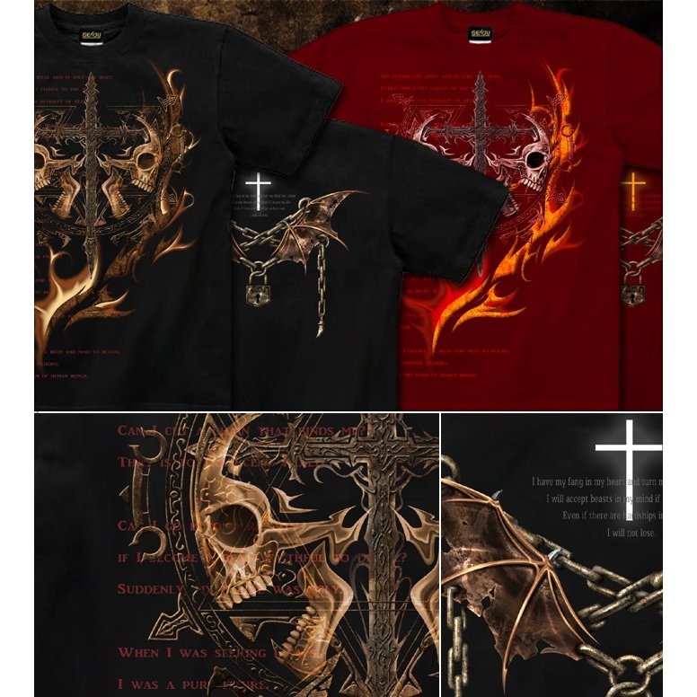Tシャツ スカル ロック メタル 十字架 genju 02