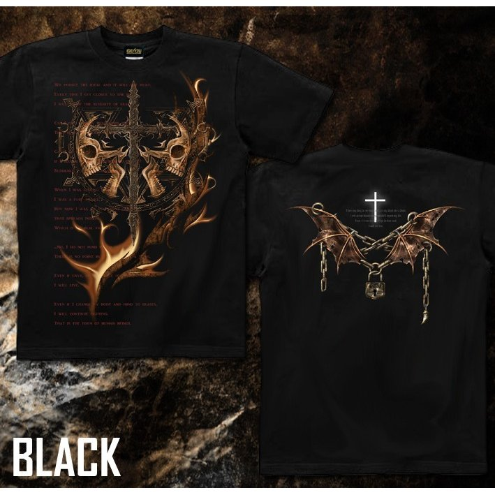 Tシャツ スカル ロック メタル 十字架 genju 05