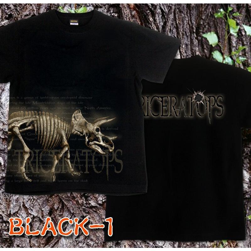 Tシャツ 恐竜 スカル トリケラトプス|genju|04
