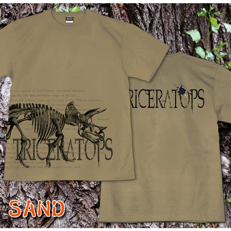 Tシャツ 恐竜 スカル トリケラトプス|genju|06