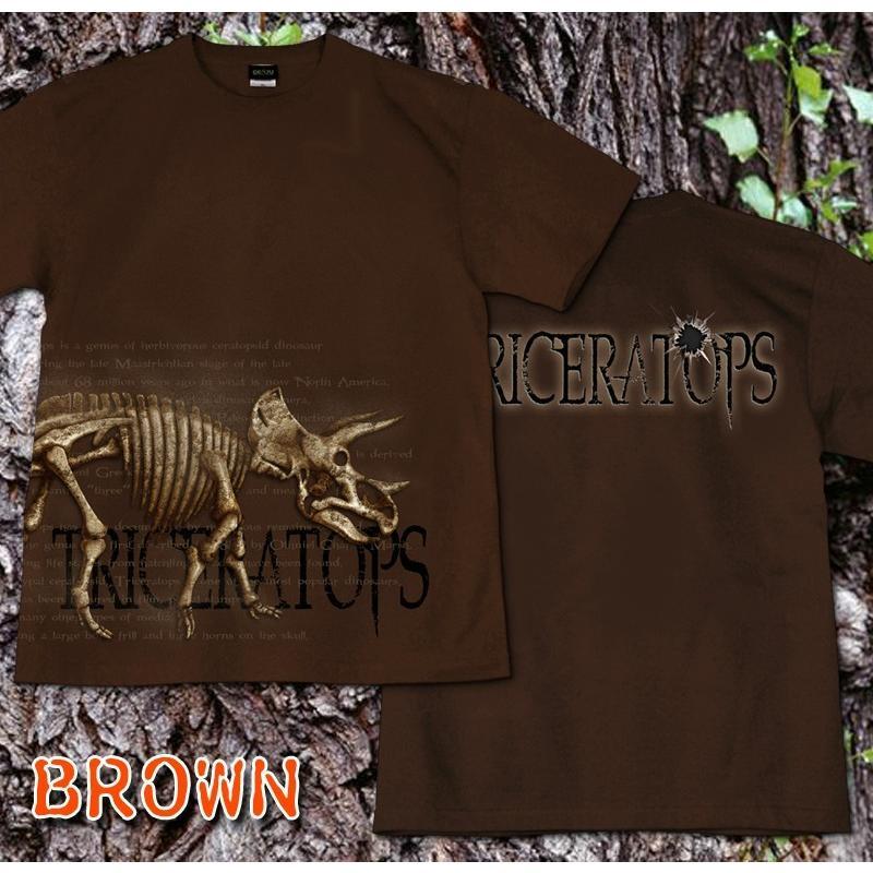 Tシャツ 恐竜 スカル トリケラトプス|genju|07