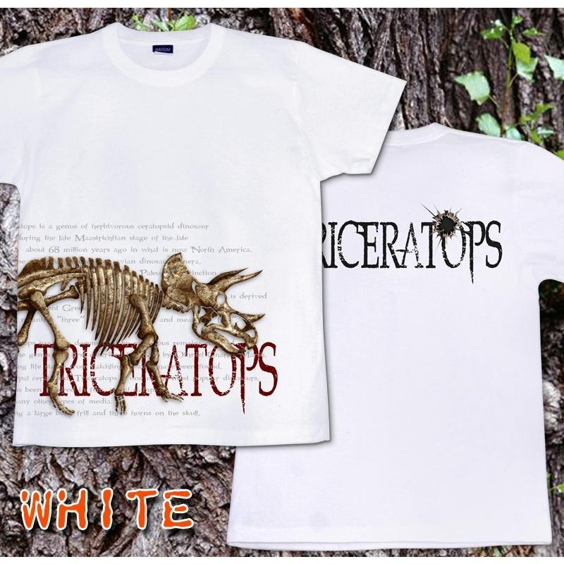 Tシャツ 恐竜 スカル トリケラトプス|genju|09