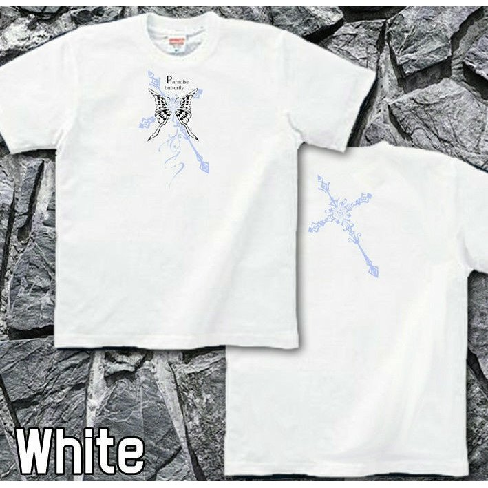 Tシャツ 蝶 バタフライ 十字架 きれいめ genju 03