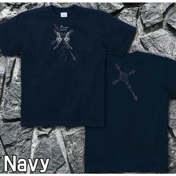 Tシャツ 蝶 バタフライ 十字架 きれいめ genju 05