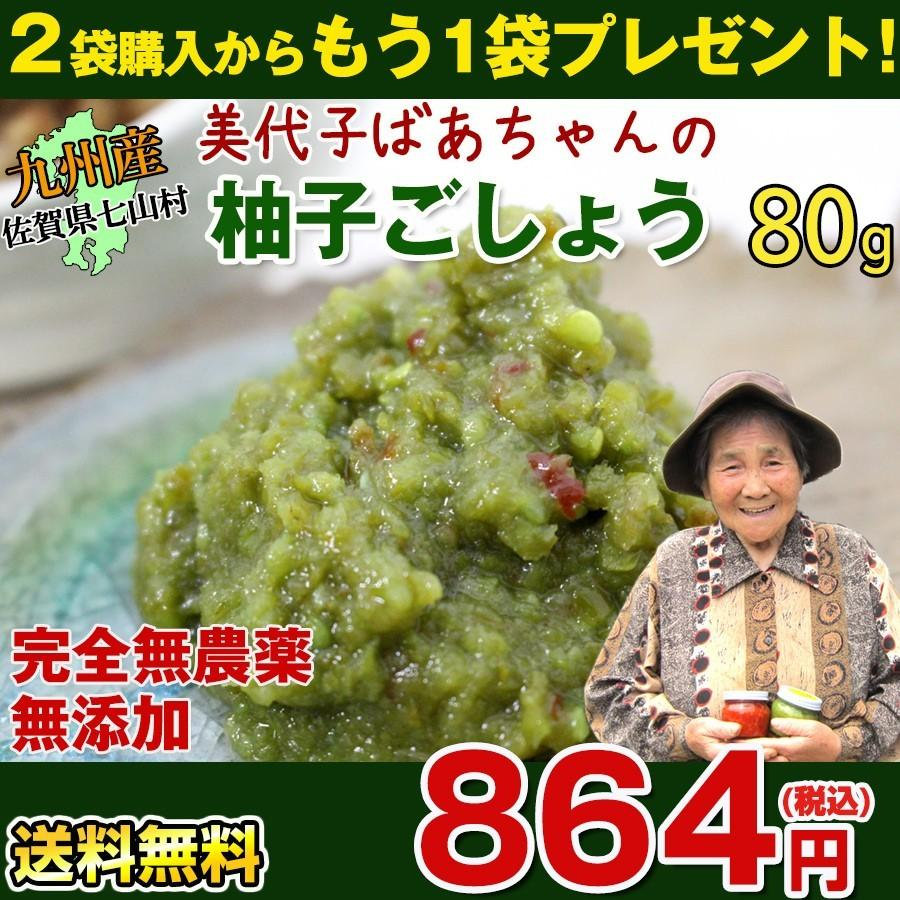 佐賀県七山産の柚子胡椒80g(送料無料)2袋購入でもう1袋プレゼント 3つの辛さから選べる ポイント消化 お試し ゆずこしょう 柚子こしょう genkiya6090