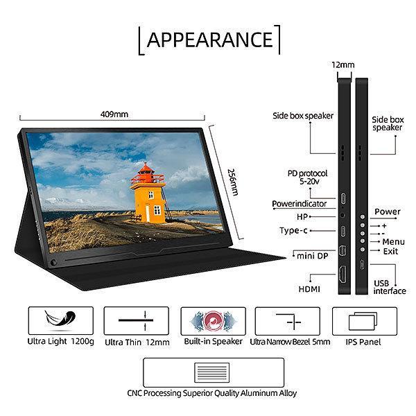 GieS液晶モバイルモニター 17.3インチ 4K(3840×2160)[HS173KC](IPSパネル/ 4K+HDR/ スピーカー内蔵/ OTG端子/ USB-PD対応) 45W電源アダプタ付属 geno 02