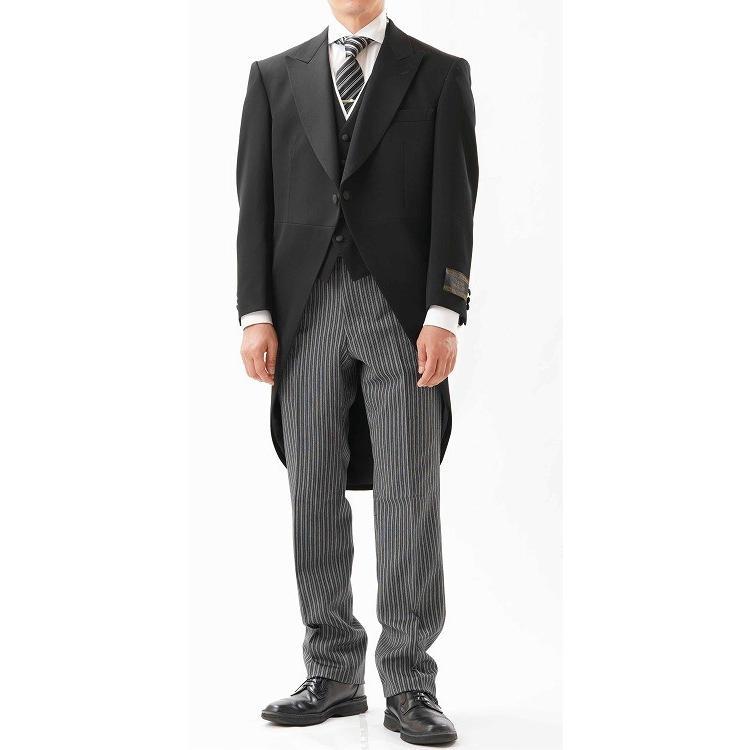 尾州素材のモーニングコートとSUPERTEXのノータックのアジャスター付き縞パンツの3点セットRM1824e1622 秋冬梅春向き|ghkwebshop|02