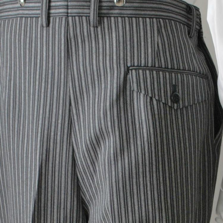 尾州素材のスリムなモーニングコート&ベストとSupertexのワンタックの縞パンツの3点セットRM1826-E1822|ghkwebshop|17