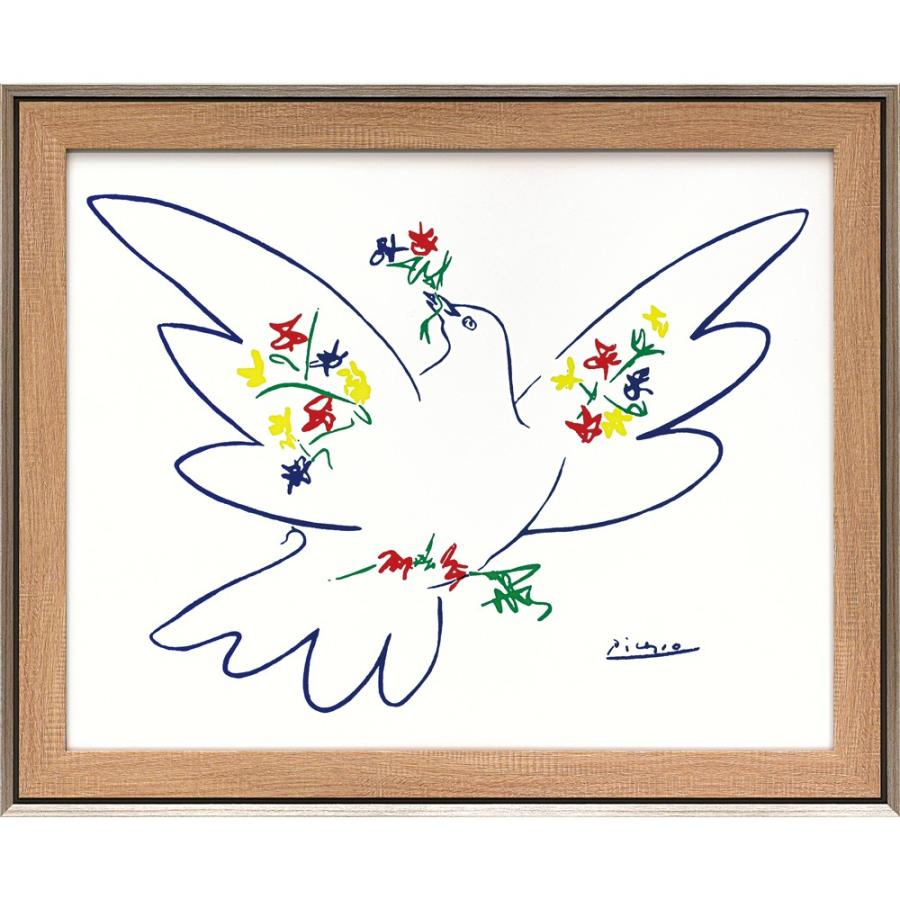 壁掛け飾り 絵画 お祝い 記念品 おしゃれ かわいい |パブロ ピカソ 「花とハト」 壁掛用 PP-15001