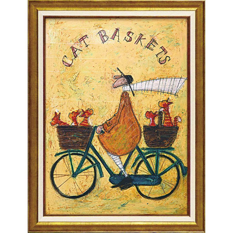 壁掛け飾り 絵画 お祝い 記念品 おしゃれ かわいい |サム トフト 「キャット バスケット」 ST-16024