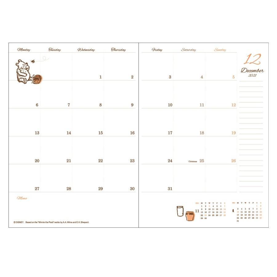 ダイゴー 2022年1月始まり ディズニー Disney Diary B6 マンスリー プー レッド E6179 giftnomura 02