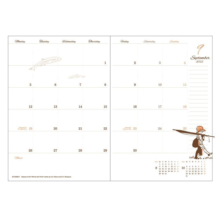ダイゴー 2022年1月始まり ディズニー Disney Diary B6 マンスリー プー レッド E6179 giftnomura 03