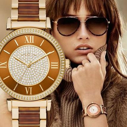 【タイムセール!】 MK3411 Gold-Tone Caitlin アセテート×ゴールド アナログ レディース 腕時計 マイケルコース, 海田町 e5f5dc22