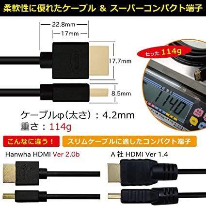 Hanwha HDMIケーブル 5m 細線 4.2mm Ver2.0b スーパースリム ハイスピード 8K 4K 2K対応 UMA-HDMI50 giga-life 06