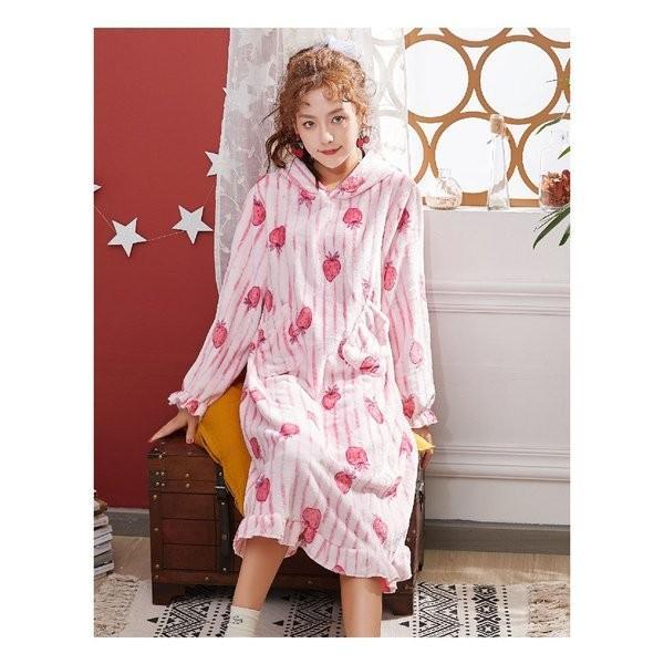 パジャマレディース着る毛布冬部屋着ルームウェアモコモコパジャマ毛布もこもこ寝巻きワンピース無地豹柄イチゴウサギあったか防寒|giganet|11