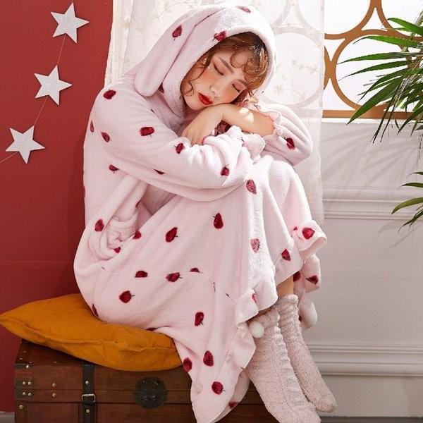 パジャマレディース着る毛布冬部屋着ルームウェアモコモコパジャマ毛布もこもこ寝巻きワンピース無地豹柄イチゴウサギあったか防寒|giganet|12