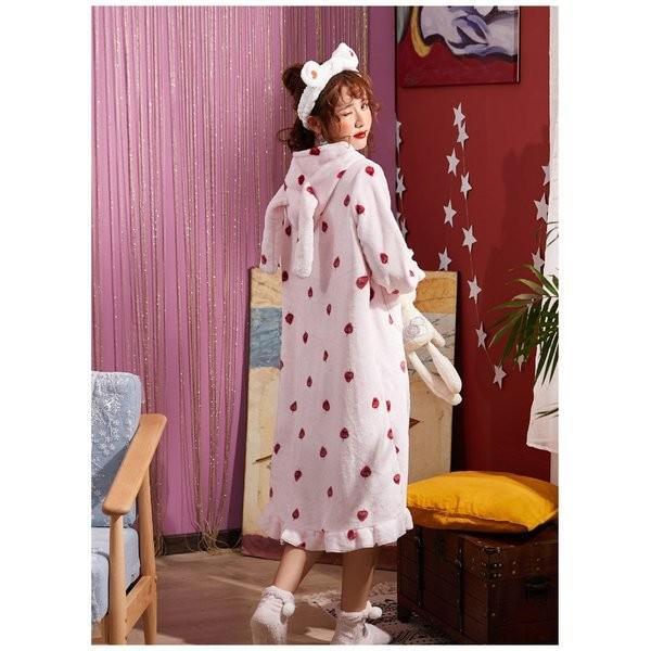 パジャマレディース着る毛布冬部屋着ルームウェアモコモコパジャマ毛布もこもこ寝巻きワンピース無地豹柄イチゴウサギあったか防寒|giganet|13