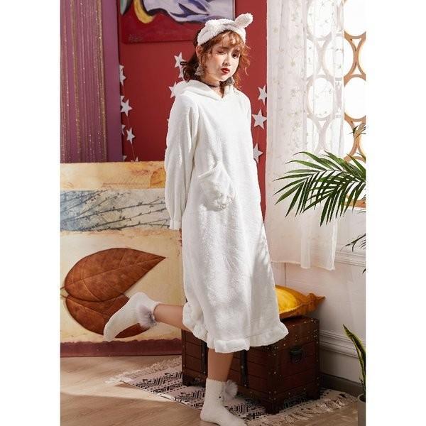 パジャマレディース着る毛布冬部屋着ルームウェアモコモコパジャマ毛布もこもこ寝巻きワンピース無地豹柄イチゴウサギあったか防寒|giganet|04