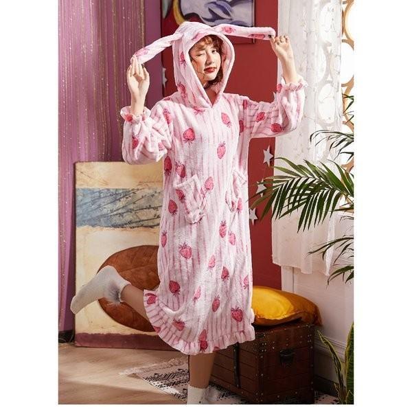 パジャマレディース着る毛布冬部屋着ルームウェアモコモコパジャマ毛布もこもこ寝巻きワンピース無地豹柄イチゴウサギあったか防寒|giganet|10