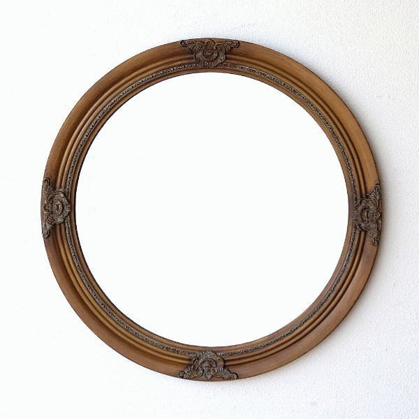 鏡 壁掛けミラー アンティーク レトロ ウォールミラー おしゃれ 丸い 丸型 円形 ラウンドミラー リビング 玄関 アールデコ調 エレガント レトロなサークルミラー