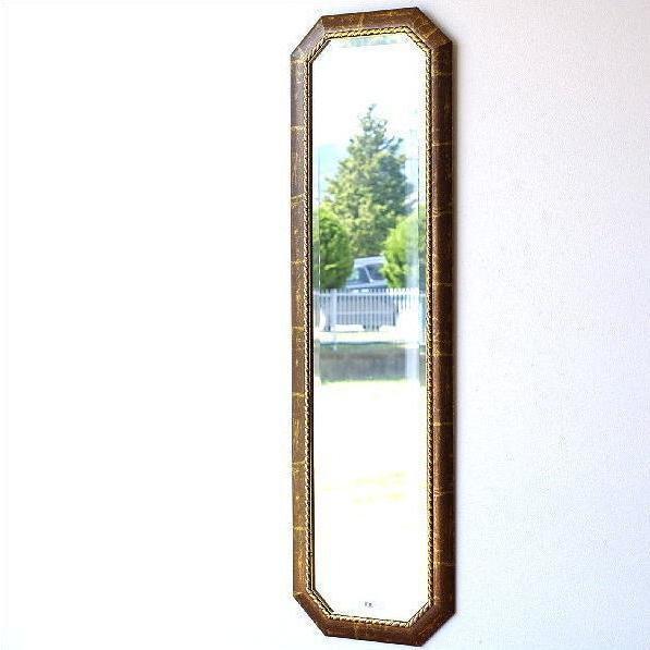 イタリア製 姿見 鏡 壁掛け 壁掛け ウォールミラー 壁掛けミラー アンティーク クラシック ロングミラー ブラウン 面取り 全身鏡 おしゃれ イタリアンミラー姿見
