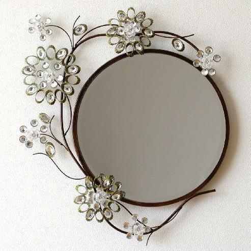 鏡 鏡 壁掛けミラー おしゃれ 玄関 アンティーク ジュエリーなサークルミラー