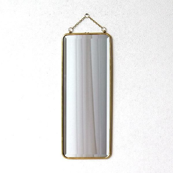 鏡 壁掛けミラー おしゃれ アンティーク レトロ ゴールド ウォールミラー シンプル 玄関 洗面所 トイレ 長方形 縦長 スタイリッシュ 真鍮の壁掛けミラーロング