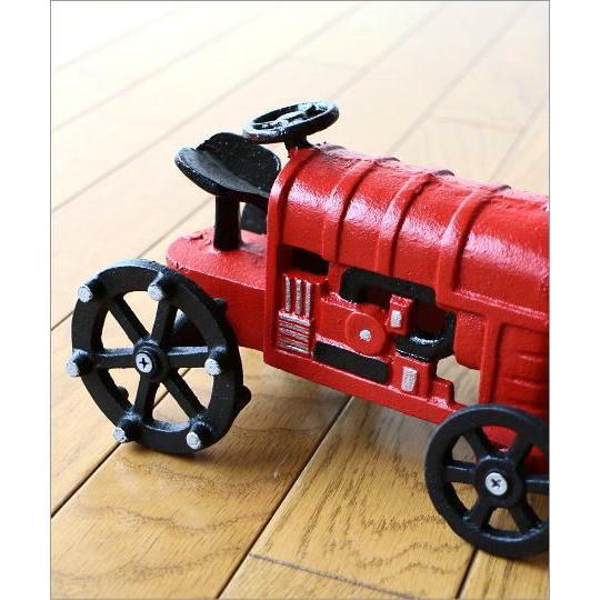 置物 置き物 車 インテリアオブジェ レトロ アイアン雑貨 赤いトラクターのオブジェ gigiliving 03