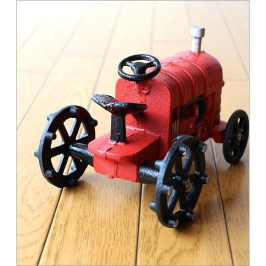 置物 置き物 車 インテリアオブジェ レトロ アイアン雑貨 赤いトラクターのオブジェ gigiliving 04