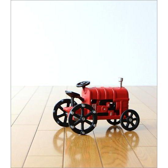 置物 置き物 車 インテリアオブジェ レトロ アイアン雑貨 赤いトラクターのオブジェ gigiliving 05