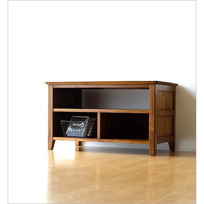 テレビ台 コンパクト テレビボード 収納 おしゃれ 木製 無垢 アジアン家具 完成品 チークローボード80B gigiliving 02