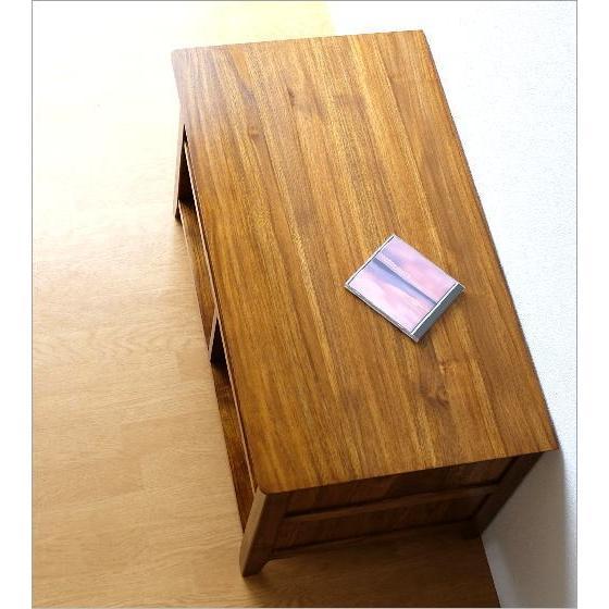 テレビ台 コンパクト テレビボード 収納 おしゃれ 木製 無垢 アジアン家具 完成品 チークローボード80B gigiliving 03