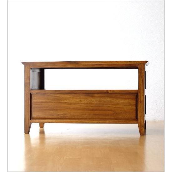 テレビ台 コンパクト テレビボード 収納 おしゃれ 木製 無垢 アジアン家具 完成品 チークローボード80B gigiliving 05