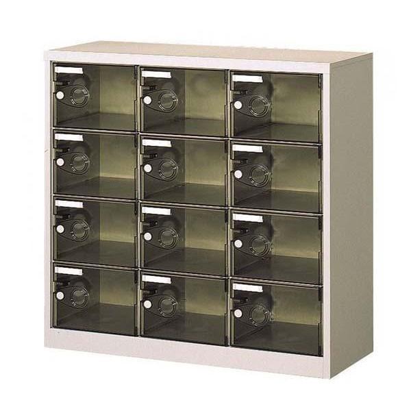 同梱不可 同梱不可 シューズロッカー 扉付・錠なしタイプ 棚板なし スモーク COM-SC-12PC