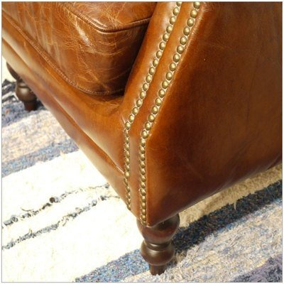 ・Vintage ・Vintage Leather Sofa - 01 ・1人掛け 1P ソファー ・アンティークモダンデザイン ・鋲飾り ヴィンテージレザー