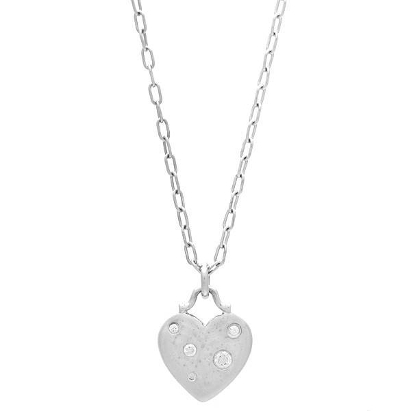 新品仕上げ TIFFANY&CO. ティファニー センチメンタルハート ネックレス K18WG/750WG/ホワイトゴールド×ダイヤモンド ginkura