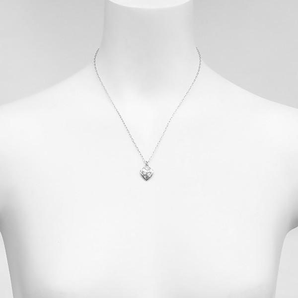 新品仕上げ TIFFANY&CO. ティファニー センチメンタルハート ネックレス K18WG/750WG/ホワイトゴールド×ダイヤモンド ginkura 04