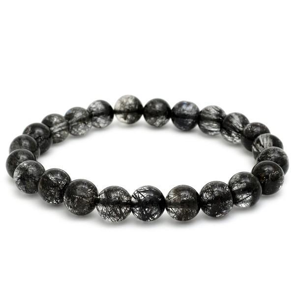 名作 ブラックルチルクォーツ ブレスレット 8.3mm 18cm 天然石 パワーストーン プレゼント 針水晶 腕輪 数珠, AuroraIsm 3f49da8b