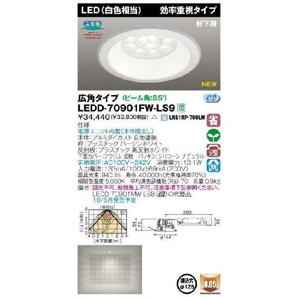 E-CORE LEDダウンライト900シリーズ◆軒下用 効率重視タイプ LEDD-70901FW-LS9