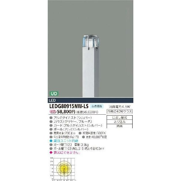 E-CORE LEDガーデンライト300シリーズ LEDG80915NW-LS