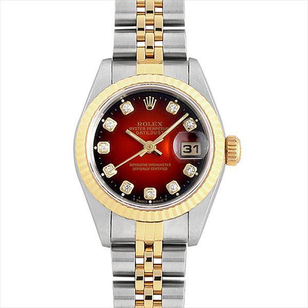 【特別セール品】 48回払いまで無金利 ロレックス デイトジャスト 10Pダイヤ 69173G ブラウングラデーション T番  レディース 腕時計, ピカキュウ 48743f5c