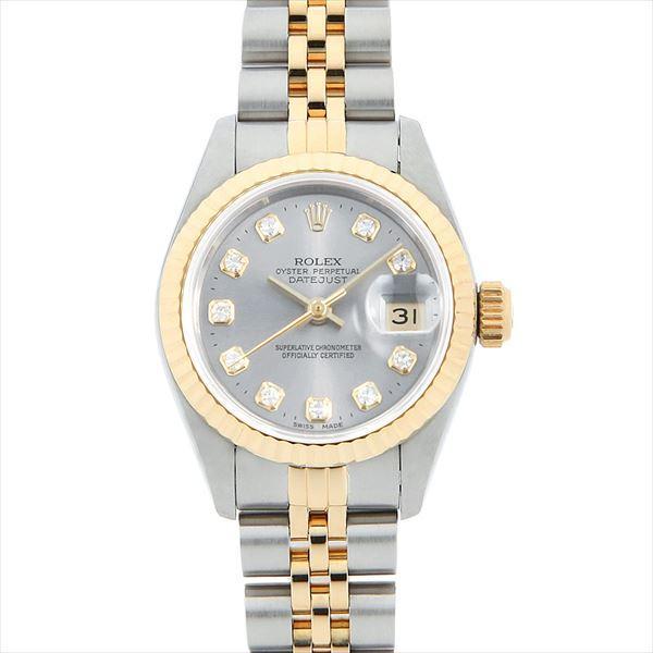 【はこぽす対応商品】 48回払いまで無金利 ロレックス デイトジャスト 10Pダイヤ T番 69173G グレー  レディース 腕時計, カナディアン ギャラリー 137e2c9e