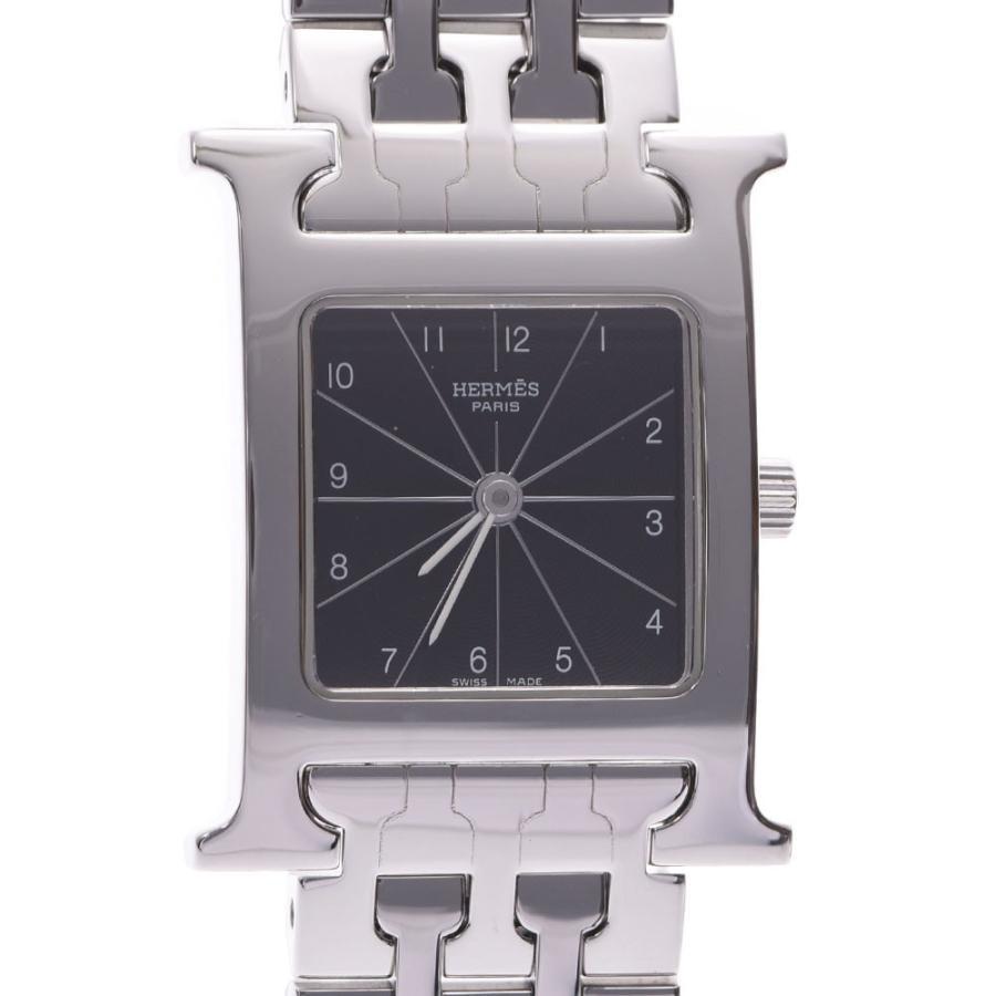 最安値で  送料無料 HERMES エルメス ラムシス HH1.210 レディース SS 腕時計 クオーツ 黒文字盤 Aランク  銀蔵, ガレージマックス e551c989
